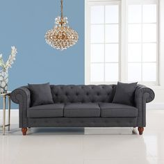 Amazon.com: Classic Linen Fabric Scroll Arm Tufted Button Chesterfield Style Sofa (Dark Grey): Home & Kitchen