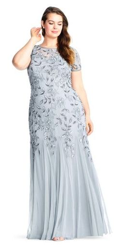 Adrianna Papell Floral Beaded Godet Gown with Short Sleeves plus size blue silver grey gray bridesmaid dress - great gatsby wedding mother of the bride mother of the groom dress Full Length Gowns, Floor Length Gown, Wedding Dresses Plus Size, Plus Size Dresses, Dress Wedding, Modest Wedding, Gown With Jacket, Mother Of The Bride Gown, Beaded Gown