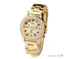 Damen Edelstahl Armbanduhr Gold GLAM QUEEN