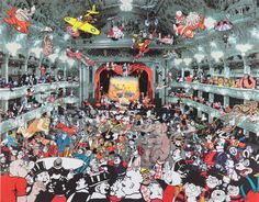 """Peter Blake """"Marcel Duchamp's World Tour""""   DC Thomson Reunion at the Tower Ballroom, Blackpool. igned limited edition silkscreen print on paper with lithographic collage."""