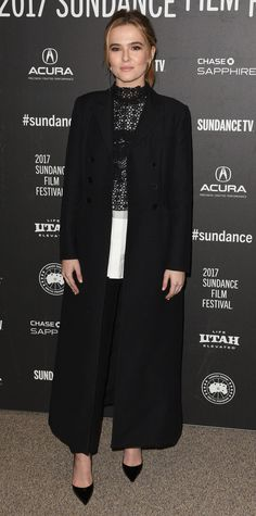Zoey Deutch got it right for the premiere of Before I Fall during Sundance, choosing a look by Dior: a knitted crochet sweater over a crisp white cotton poplin shirt, complete with black pants and a sleek double-breasted wool coat.