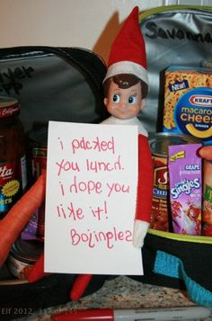 Elf leaves a note reading 'I packed your lunch, I hope you like it! Bojingles