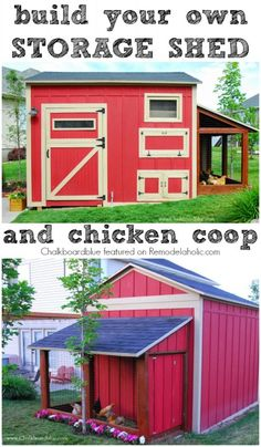 A storage shed and chicken coop combo that isn't ugly. Love the red!