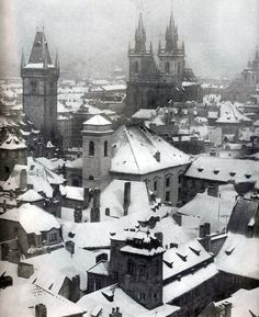 Prague, Czech Republic in winter Prague Winter, Winter Magic, Winter Snow, Winter Time, Heart Of Europe, City Photography, Fantasy Photography, Monochrome Photography, Amazing Buildings