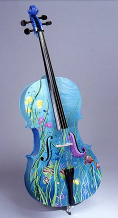 String instruments abstractly painted by Julie Borden. This one would be perfect for Hawaii