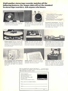1965 Ampex 2000 tape recorder ad in Phantom Production's vintage recording collection
