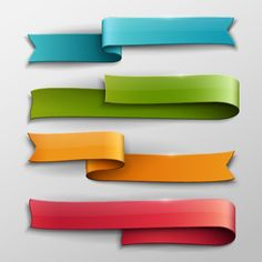 Vector banner colored ribbon design 01