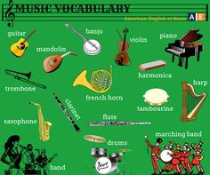 """Music is the universal language of mankind."" (-Henry Wadsworth Longfellow) Do you agree but still want to learn the English words for musical instruments? Check out this American English at State graphic with musical instrument vocabulary. What other instruments do you know in English? #AmericanEnglish"