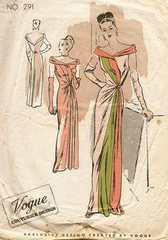 45fd98208c94 1940s Vintage VOGUE Sewing Pattern B32 EVENING DRESS (E1225) Vogue 291