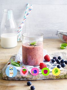 A yummy Alpro Almond Original Drink smoothie with berries & basil.