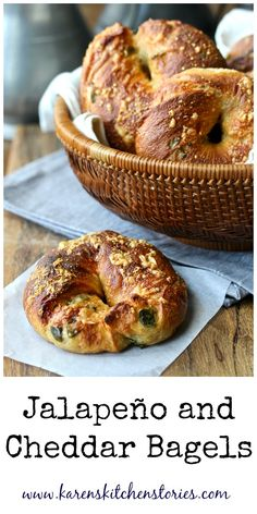 These Jalapeño and Cheddar Bagels are so chewy and delicious, and the crust is super crispy and cheesy. These bagels are also filled with more cheese as well as chopped jalapeño chiles. Bread Maker Recipes, Quick Bread Recipes, Great Recipes, Favorite Recipes, Amazing Recipes, Delicious Recipes, Savory Breakfast, Sweet Breakfast, Brunch Recipes