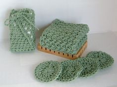 Sage Spa Set Spa Bath Set Crochet Spa Set by karnivalofkrafts, $10.00
