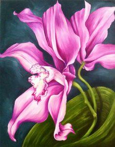 Purple orchids by ArtbyJohannaKarcher on Etsy, $500.00