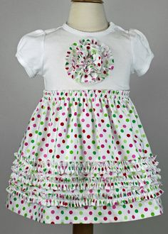 Christmas T-shirt dress ruffles rosette toddler pattern pdf baby girl RUFFLED ROSETTE