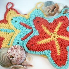 Starfish Dishcloth/Washcloth - Set of 3 http://etsy.me/2eR0tSA #starfish #crochet #kitchendecoration #beachdecor