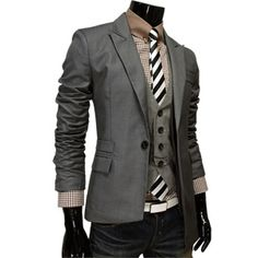 Mens Unbalanced Fitted Jacket