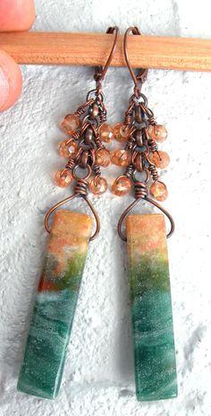 Ocean jasper earrings - dreamy earrings- boho earrings- earthy earrings- unique earrings-boho jewelry