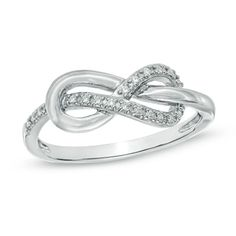 Diamond Accent Infinity Knot Ring in Sterling Silver... I am so stuck on the Infinity thing it's insane...