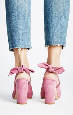 Bow Back heels in dusty rose