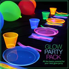 Glow party pack $29.99 The Glow Party Pack has all the basics covered for your next Glow Party! BPA Free neon cups, plates, and plastic ware things at glows under black light. Plus, five UV Reactiv…