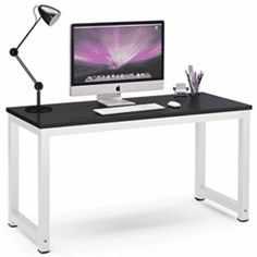 Tribesigns Computer Desk, 55 inch Large Office Desk Computer Table Study Writing Desk for Home Office, Black + Black Leg Large Office Desk, Large Computer Desk, Computer Desk Chair, High Back Office Chair, Pc Desk, Office Table, Laptop Desk, Home Desk, Home Office Desks