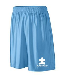 Men's long shorts in Columbia blue with the Autism Speaks logo http://shop.autismspeaks.org/mens-columbia-blue-fitness-shorts
