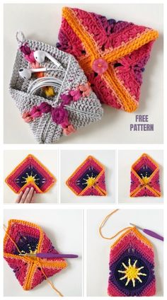 Most current Totally Free Crochet Bag granny square Concepts Oma Square Pouch Kostenlose Häkelanleitung Crochet Pouch, Crochet Diy, Crochet Gifts, Crochet Stitches, Crochet Purses, Crochet Bags, Crochet Mandala, Crochet Afghans, Crochet Blankets
