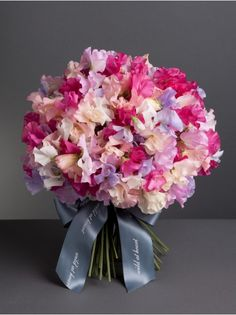 Wild At Heart - Seasonal Sweet Pea Bouquet - Beautifully-scented, this soft and delicate bouquet is a wonderful mix of sweet peas in pinks and purples. Sweet Pea Bouquet, Pink Bouquet, Bridesmaid Bouquet, Wedding Bouquets, Floral Wedding, Wedding Flowers, Flower Farm, Flower Designs, Flower Ideas