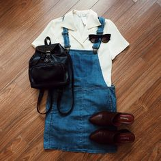 Found at Common Sort - vintage shirt, dungaree dress, Matt & Nat mules and vintage leather backpack