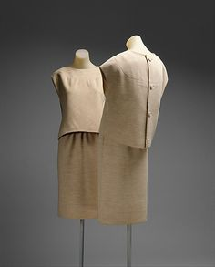 Ensemble  House of Givenchy (French, founded 1952)  Designer: Hubert de Givenchy (French, born Beauvais, 1927) Date: fall/winter 1963–64 Culture: French Medium: wool Dimensions: Length at CB (a): 21 in. (53.3 cm) Length at CB (b): 23 1/2 in. (59.7 cm) Credit Line: Gift of Diana Vreeland, 1979 Accession Number: 1979.435.10a, b