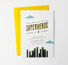 little frills // superhero invitations #birthday #superhero #party #invitations