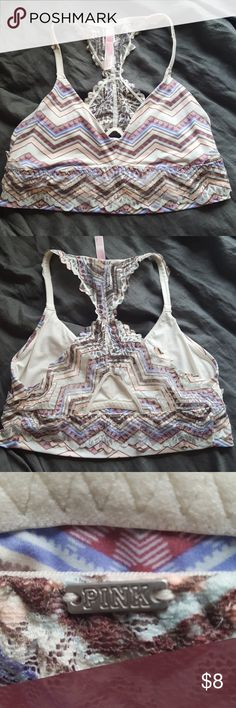 PINK super soft lace bralette Super soft, racerback bralette with peephole in back and lace. Great used condition. PINK Intimates & Sleepwear Bras