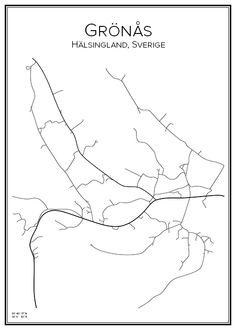 Grönås. Hälsingland. Sverige. Map. City print. Print. Affisch. Tavla. Tryck. Stadskarta.