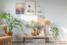 WOonkamer inrichten woonstijl Bohemian chic Palmboom lamp goud door Binti Home