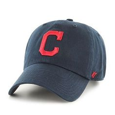 Cleveland Indians 47 Brand MLB Strapback Adjustable Cap Hat Navy Clean Up  Cleveland Indians Hat 079b14f2f03c