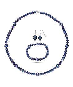 Black Pearl & Sterling Silver Necklace Set