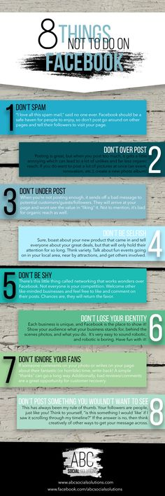 8 Things Not to do on Facebook | infographic | www.abcsocialsolutions.com