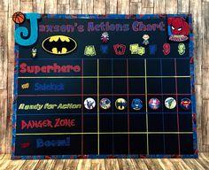 Superhero themed behavior chart #superhero #chalkboard #batman #spiderman #behaviorchart #clipchart