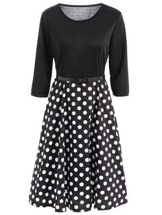 Vintage Women's Belted 3/4 Sleeve Polka Dot Fit and Flare Dress