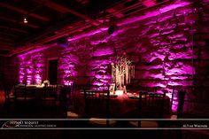 www.eventageouslighting.com - Event Lighting Services serving Oakland County & Metro Detroit area in Southeast Michigan! Uplighting looks neat on bricks!  #wedding #pinkuplighting