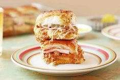 These baked ham and cheese sandwiches are packed full of flavor and taste just like a hot-pressed Cuban sandwich. Serve them as an appetizer or as main-dish sliders. Cuban Sandwich, Sandwich Recipes, Slider Sandwiches, Sliders, Easy Appetizer Recipes, Appetizers, Dinner Recipes, Pureed Food Recipes, Pork Recipes