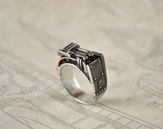 Silver Steampunk Industrial Ring Resurgerendum by GatoJewel, $270.00