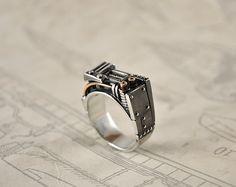Silver Steampunk Industrial Ring Resurgerendum by GatoJewel, $270.00