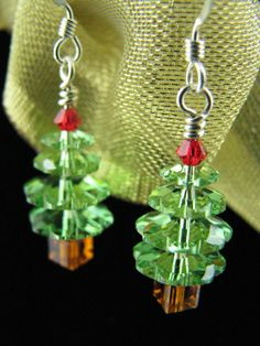 Christmas Earrings - Christmas Jewelry - Christmas Tree - Beaded Earrings. $15.00, via Etsy.