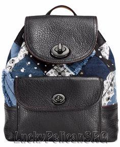COACH 37743 Mini Turnlock Rucksack Backpack Canyon Quilt Denim Blue Nickel Skull #Coach #Backpack
