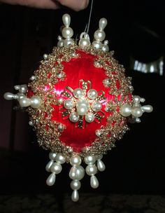 Vintage Christmas Ornament Red Satin Ball Pearls Beads Metallic Lace 1970's Handmade Decoration. made these.