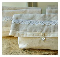 Clutch Neutral linen lace Set 3 4 5 Bridesmaid Purse by hoganfe