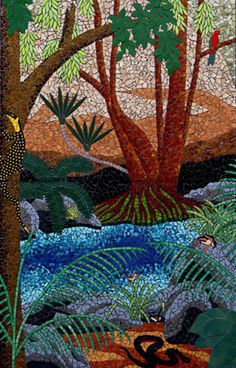 """Rock Pool. Scene at the rockpool before the main falls. Includes goanna, snake, birds, and frogs. """"Kondalilla"""" Mosaic murals in ceramic tiles by Brett Campbell Mosaics"""