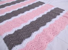 Crochet Baby Blanket Crochet Baby Afghan in Pink by CandacesCloset