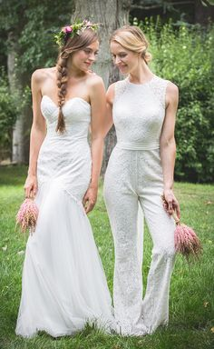 Have an all white wedding with your bridal party in this white lace bridesmaids dress or jumpsuit | Bari Jay Bridesmaids | Spring/Summer 2017 |